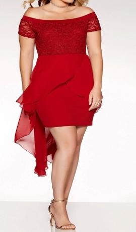 3-0662 Bordo krāsas kleita ar pazeminātu pleca līnīju.