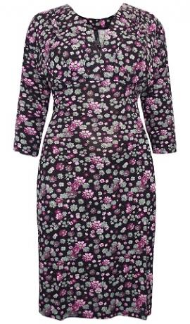 3-0663 Melna kleita ar smalku ziedu rakstu.