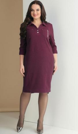 LIA2561 Vīna krāsas trikotāžas kleita