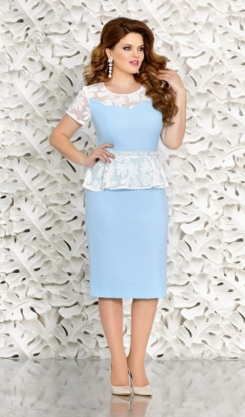 3-0971 Gaiži zila ar baltu kleita