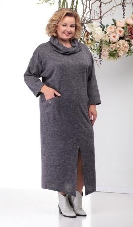 LIA6234 Pelēka krāsas kleita ar kabatām