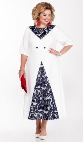 LIA6246 Balta kleita ar zilu mežģīņu ielaidumiem