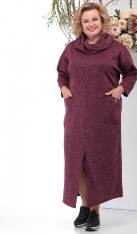 LIA6233 Bordo krāsas kleita ar kabatām