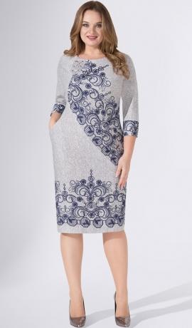 LIA4386 Pelēka trikotāžas kleita