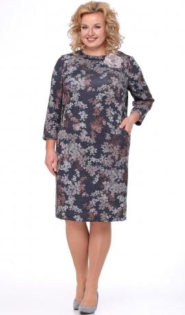 LIA4376 Trikotāžas kleita ar ziedu rakstu