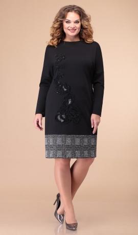LIA6844 Melna kleita ar rūtainu apakšu