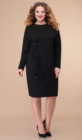 LIA6843 Melna kleita ar uzšuvi