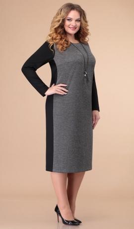 LIA6840 Pelēka ar melnu trikotāžas kleita