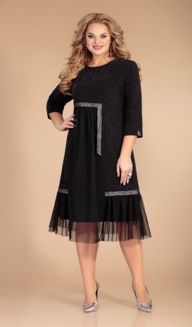 LIA6835 Melna kleita ar spīdumu