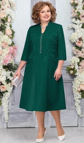 LIA4852 Smaragdzaļa kleita ar spīdumu