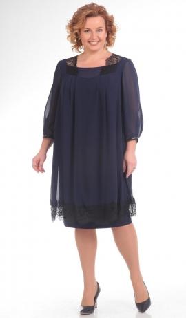 LIA1083 Tumši zila kleita ar melnu mežģīņu dekorējumu