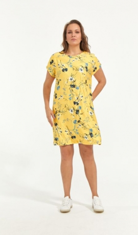 3-1695 Dzeltena kleita ar ziediem