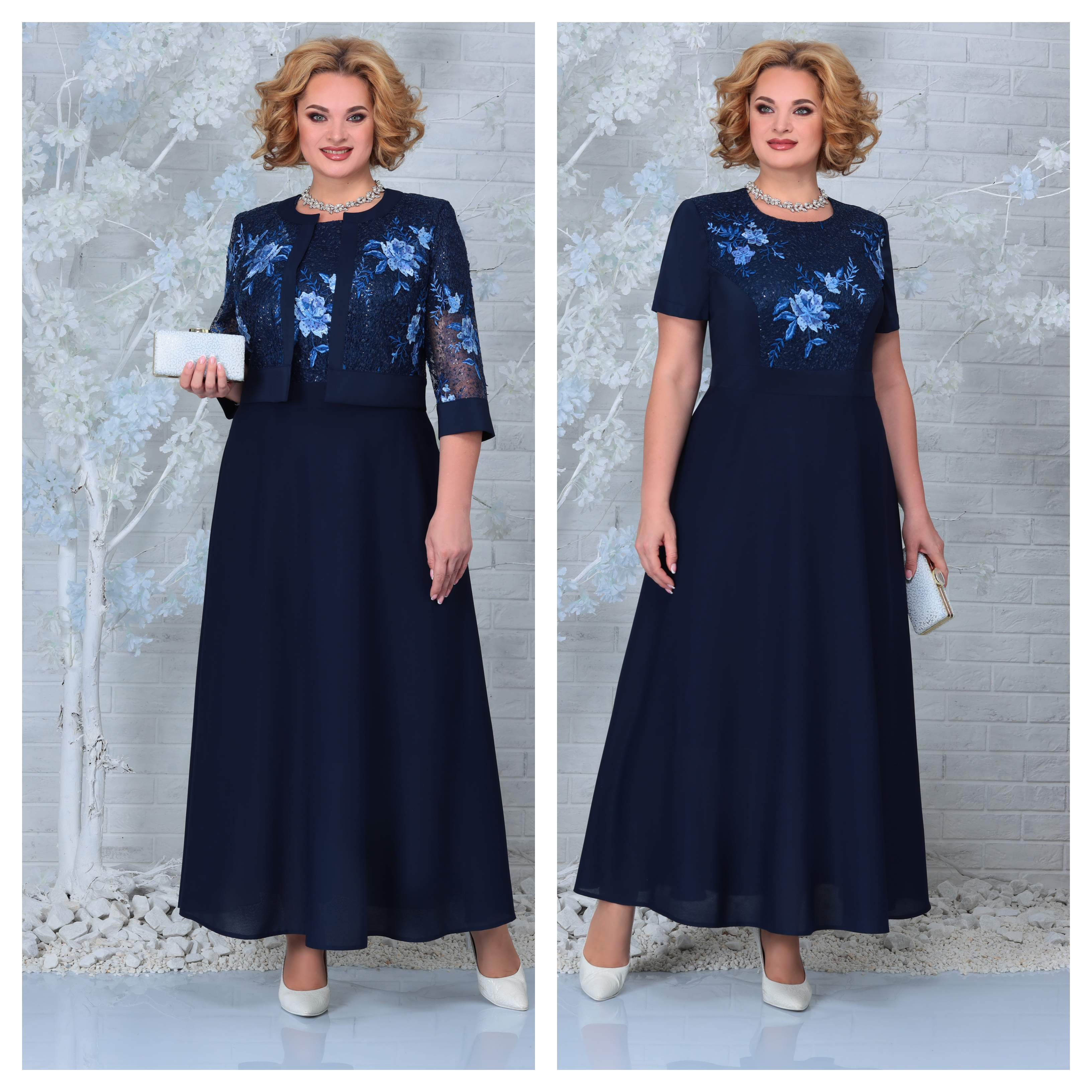 LIA7396 Šifona kleita ar mežģīņu jaciņu