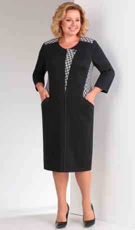 LIA3771 Melna trikotāžas kleita