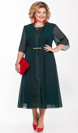 LIA6254 Tumši zaļa kleita