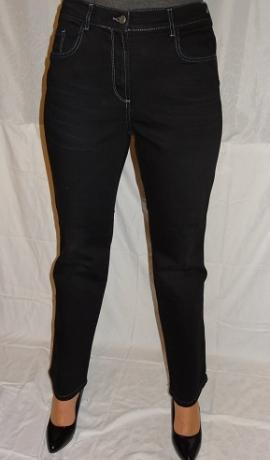 5-0396 Melni džinsi ar pelēkām dekoratīvām nošuvēm.