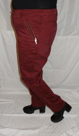 5-0390 Bordo krāsas bikses ar metāla apdari.