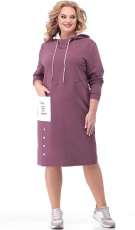 LIA6858 Ceriņkrāsas kleita ar kapuci