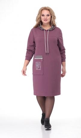 LIA6855 Ceriņkrāsas kleita ar kapuci
