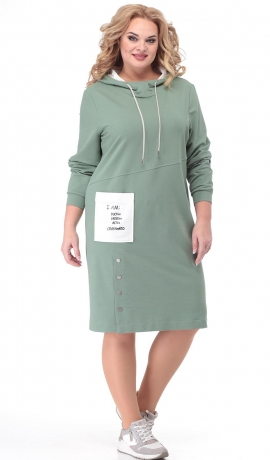 LIA6857 Gaiši zaļa kleita ar kapuci