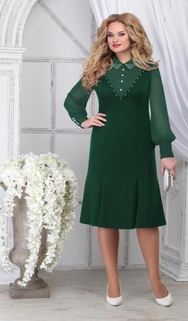 LIA7103 Zaļa kleita ar šifona piedurknēm