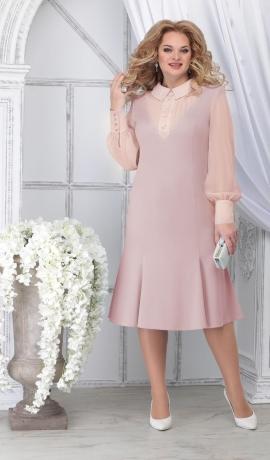 LIA7099 Gaišas krāsa kleita ar šifona piedurknēm
