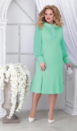 LIA7104 Gaiši zaļa kleita ar šifona piedurknēm