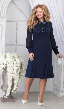 LIA7100 Tumši zila kleita ar šifona piedurknēm