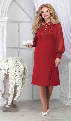 LIA7098 Sarkana kleita ar  šifona piedurknēm