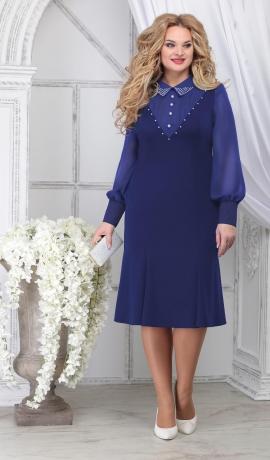 LIA7101 Zila kleita ar šifona piedurknēm