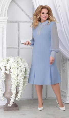 LIA7102 Gaiši zila kleita ar šifona piedurknēm