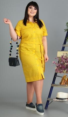 LIA5781 Dzeltena kleita ar jostiņu