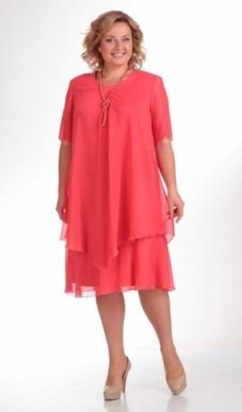 LIA07981 Koraļļu krāsas šifona kleita
