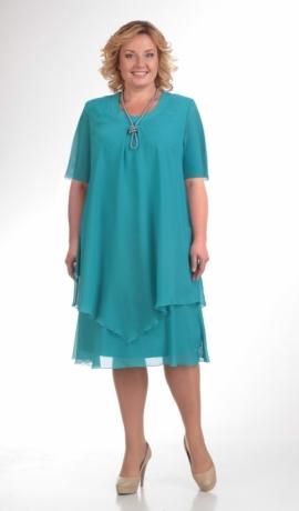 LIA07984 Tirkīzzaļa šifona kleita
