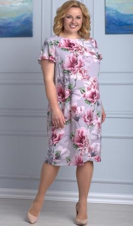 LIA3775 Pelēka kleita ar ziediem