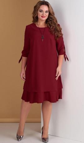 LIA3777 Ķirškrāsas kleita ar volānu