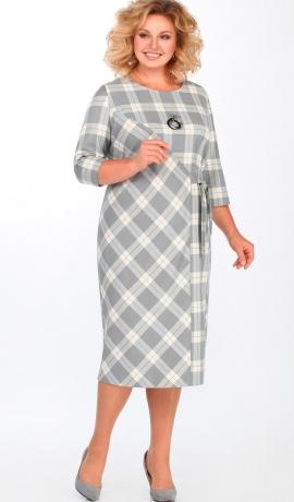 LIA3781 Pelēka rūtiņu raksta kleita