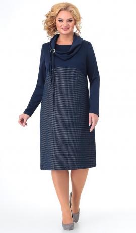 LIA7588 Tumši zila kleita ar šallīti