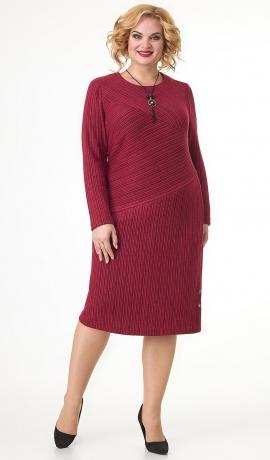 LIA7581 Bordo krāsas trikotāžas kleita