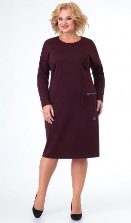 LIA7583 Bordo trikotāžas kleita