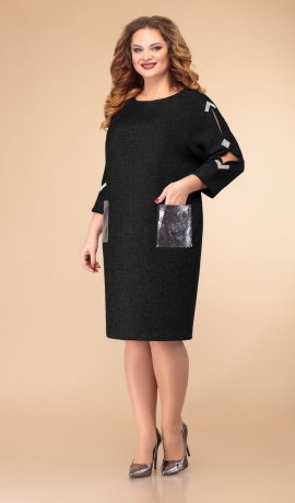 LIA6873 Melna kleita ar fliteriem