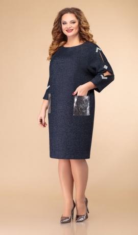 LIA6874 Zila kleita ar fliteriem