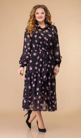 LIA6871 Melna šifona kleita ar ziediem