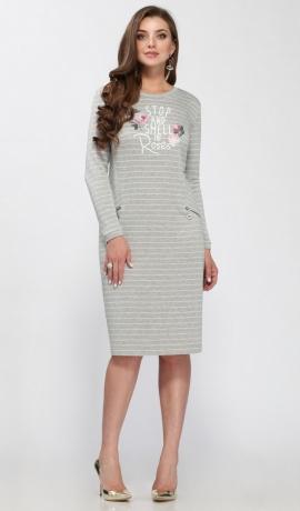 3-1189 Pelēka trikotāžas kleita