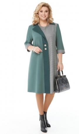 LIA7114 Gaiši zaļa / pelēka kontrastaina kleita
