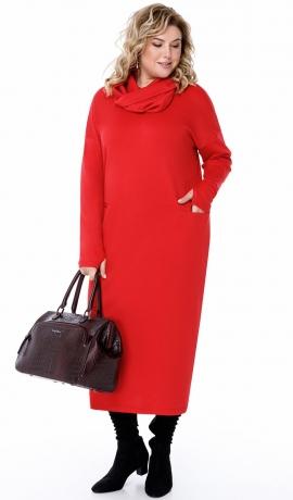 LIA7110 Sarkana kleita ar noņemamu šalli