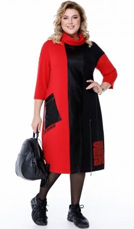 LIA7123 Sarkana/Melna kleita