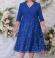 LIA59511 Zila kostīmstila kleita ar mežģīni