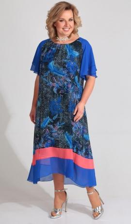 LIA3140 Zilu toņu kleita ar rakstu