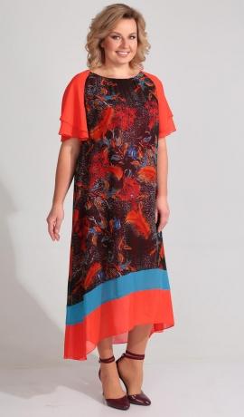 LIA3141 Sarkanu toņu kleita ar rakstu